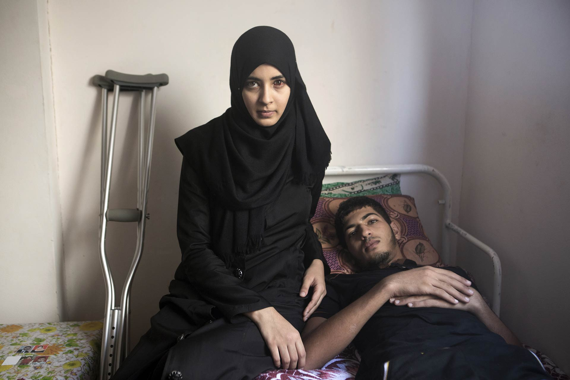 """I heard Wafaa' screaming from under the rubble. I could see only her toes moving. I tried to remove the stones that fell on her, but it was too much. Instead, I started to dig beneath her and managed to pull her out. She was wounded in her head, bleeding from her eye. Her arm was also injured. Momen was three meters away from Wafaa'. He was also screaming."" - recalls Mustafa."