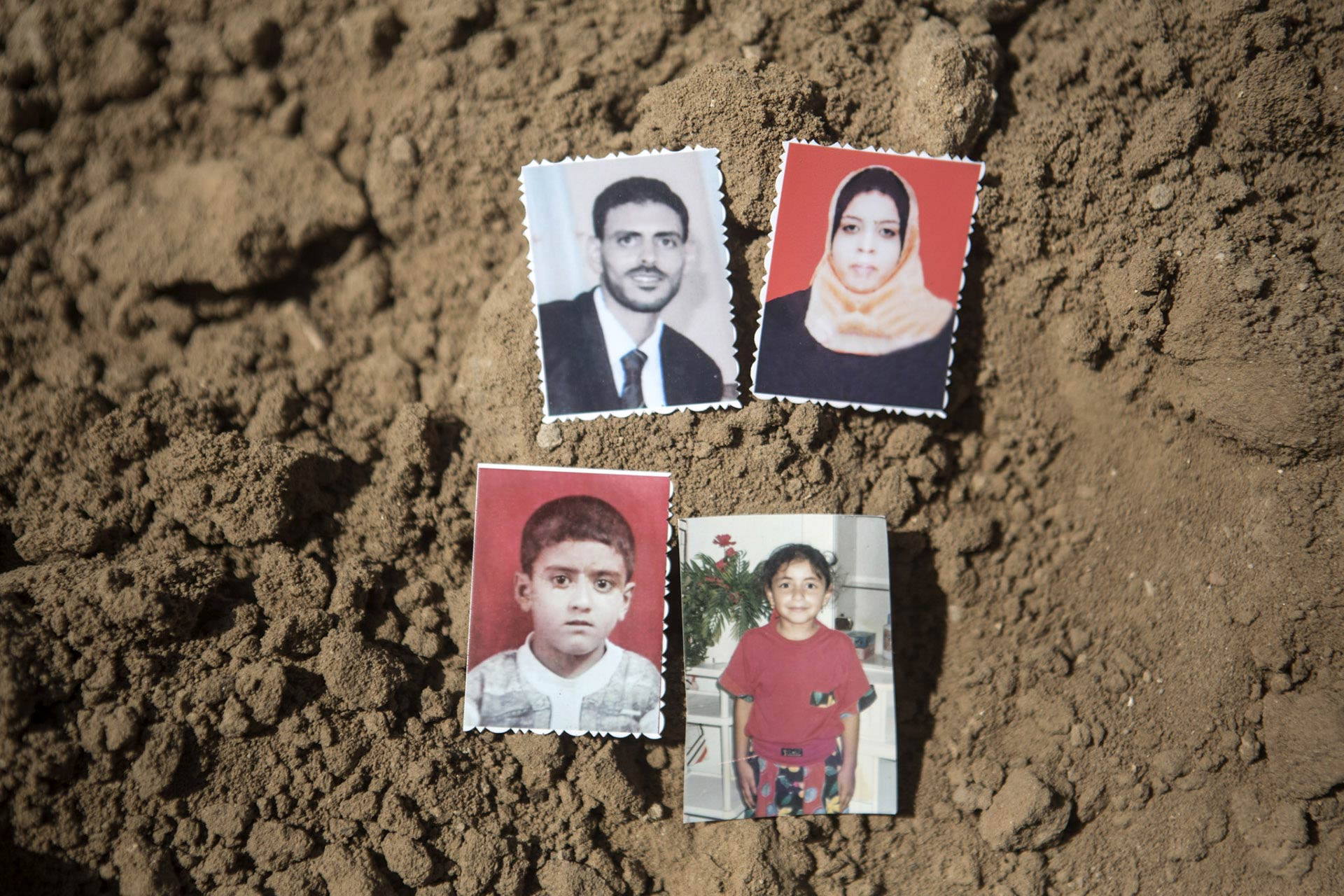 Rafat, Mustafa's son, had three little kids. Two boys, the eldest ten-year-old Mustafa, named traditionally after his grandfather, Maysara, seven years old, and a daughter named Farah, six years old. His wife Nabila was pregnant at the time of the attack. The photo of 10-year-old Mustafa is missing.